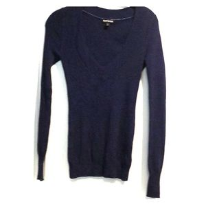 Express blue w/ black sweater long slv v-neck XS